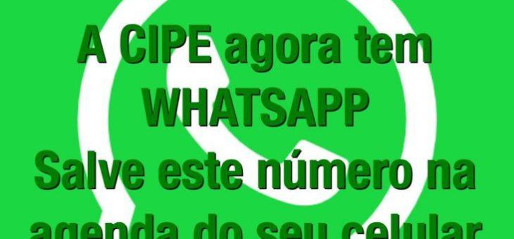 Não deixe de registrar o WhatsApp da CIPE na agenda do seu celular